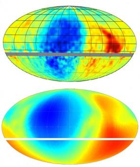 L'intensità dei raggi cosmici (in alto) messa a confronto con quanto predetto dai modelli che si basano sui dati di IBEX (in basso). La buona corrispondenza fra osservazioni e previsioni, evidenziata dal colore delle diverse regioni, avvalora la stima di IBEX della direzione locale del campo magnetico galattico. Crediti: Nathan Schwadron, UNH-EOS.