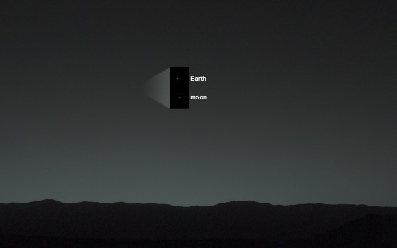 La Terra e la Luna viste da Curiosity su Marte. Crediti: NASA/JPL-Caltech/MSSS/TAMU