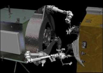 Elaborazione artistica di un robot che rifornisce un satellite. Crediti: NASA