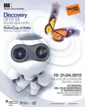 La locandina del festival della scienza di Rovereto: Discovery on Film.
