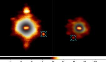 Due osservazioni effettuate nel 2006 e 2008 con il telescopio Keck II. Al centro di ogni immagine è ben distinguibile la forma oblunga di Hektor, mentre la piccola e debole luna è indicata dal cerchio azzurro. Crediti: F. Marchis / WMKO