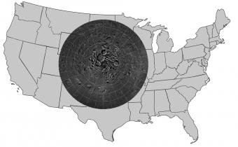 LROC Northern Polar Mosaic sovrapposto agli Stati Uniti.
