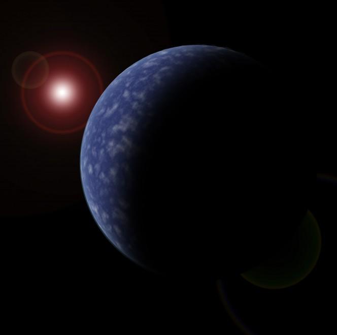 Rappresentazione artistica di uno dei nuovi pianeti scoperti in orbita attorno a una nana rossa (nell'angolo in alto a sinistra). Crediti: Neil Cook, Università dell'Hertfordshire