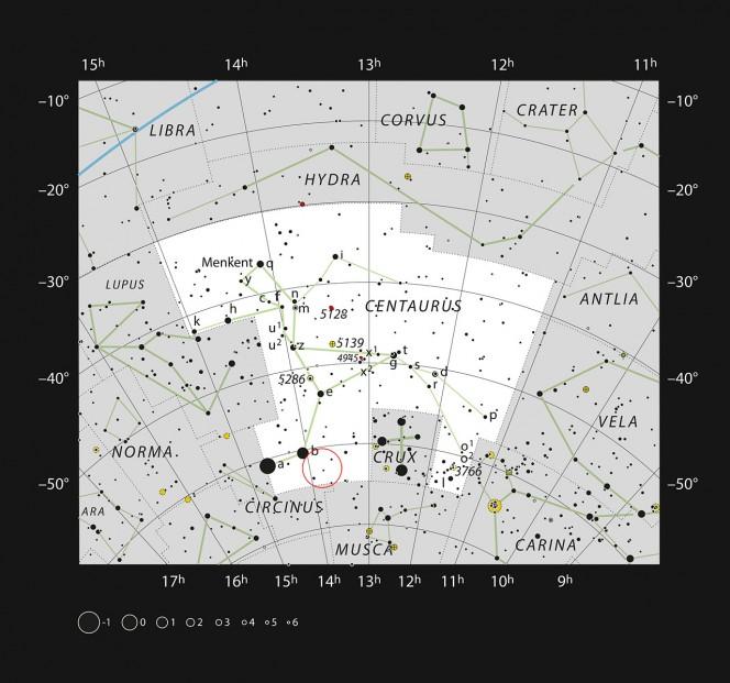 Questo grafico mostra la costellazione del Centauro: sono indicate la maggior parte delle stelle visibili a occhio nudo in un cielo scuro, mentre la posizione della ipergigante gialla HR 5171 è segnata con un cerchio. La stella è facilmente visibile con un binocolo. Crediti: ESO, IAU and Sky & Telescope