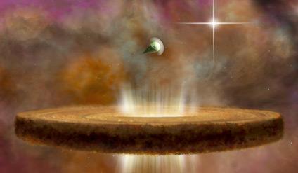 Rappresentazione artistica di due protostelle attorno a una stella di tipo O (quelle più calde e luminose). Nell'immagine si nota che le radiazioni della stalla stanno spazzando via gas e polvere del disco protoplanetario più vicino. Crediti: NRAO/AUI/NSF; B. Saxton