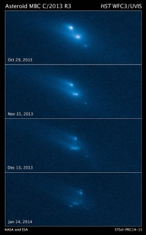 La sequenza della disintegrazione fotografata dallo Hubble Space Telescope. Crediti: NASA, ESA, D. Jewitt/UCLA