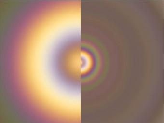 Simulazioni di una Gloria vista su Venere (sx) e sulla Terra (dx).  Crediti: C. Wilson/P. Laven