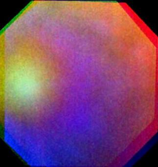 Composizione in falsi colori della gloria osservata su Venere il 24 luglio 2011 dalla Venus Monitoring Camera della sonda Venus Express. Crediti: ESA/MPS/DLR/IDA