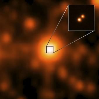 Il terzo sistema stellare binario più vicino al sole, scoperto dal telescopio spaziale WISE nel marzo 2013. Crediti: NASA/JPL/Gemini Observatory/AURA/NSF