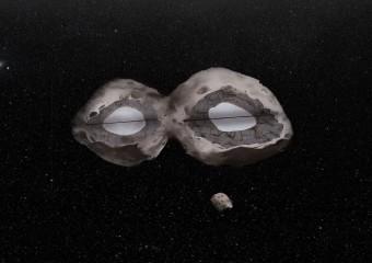 Rappresentazione artistica dell'asteroide Hektor e della sua luna. L'interno dell'asteroide, composto da una mistura di rocce e ghiaccio, è mostrato in sezione. Crediti: H. Marchis & F. Marchis