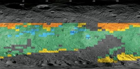 La mappa termica di Vesta. Le proprietà termiche sono state sovrapposte a una proiezione di Mercatore. Ecco il codice del colore: blu, classe VHL; azzurro, classe HL; verde, classe AA; giallo, classe LH;  e arancio, classe VLH.