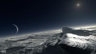 Rappresentazione artistica di come potrebbe apparire la superficie di Plutone. Sulla sinistra la falce della luna Caronte; sulla destra  il Sole, 1000 volte più pallido di quanto appaia da Terra. Crediti: ESO/ L. Calçada