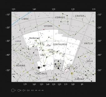 La zona di formazione stellare Gum 41 nella costellazione del Centauro. Crediti: ESO, IAU and Sky & Telescope