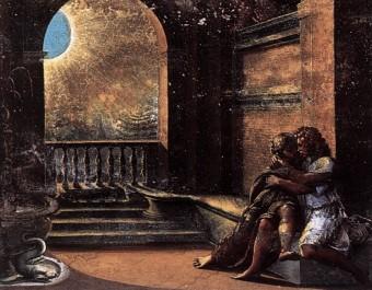 Raffaello Sanzio: Isacco e Rebecca spiati da Abimelech. Palazzo Apostolico, Città del Vaticano. Affresco, 1518-1519.