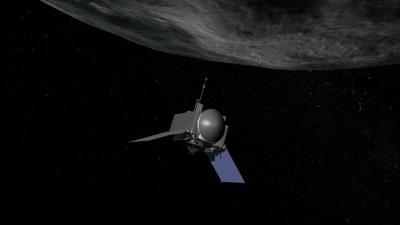 Rappresentazione artistica dell'OSIRIS-REx della NASA che raccoglierà campioni di roccia dall'asteroide Bennu. Crediti: NASA/Goddard