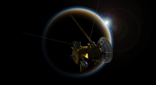 La sonda Cassini nell'orbita di Titano. Crediti: rendering NASA / JPL-Caltech.
