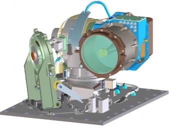 Disegno CAD del modulo ottico del sistema LLCD installato sulla sonda LADEE in orbita attorno alla Luna fino al 18 aprile scorso.