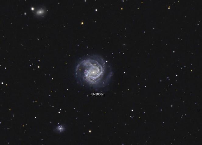 Immagine amatoriale che mostra la supernova 2008in il 16 aprile del 2009.