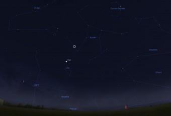Il cerchietto indica la posizione della stella HD 162826, nota anche come   HIP 87382 o HR 6669, visibile con l'aiuto di un binocolo in direzione della costellazione di Ercole.  La mappa è stata realizzata per la latitudine del centro Italia nelle sere di metà maggio con il software Stellarium.