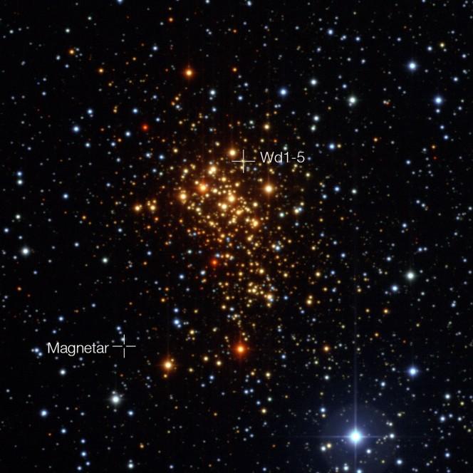 L'ammasso stellare Westerlund 1 e la posizione della magnetar e della probabile ex-compagna. Crediti: ESO