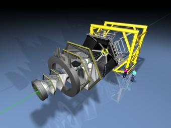 Elaborazione in 3D della ricerca di HADES del bosone U. Crediti: A. Schmah/HADES