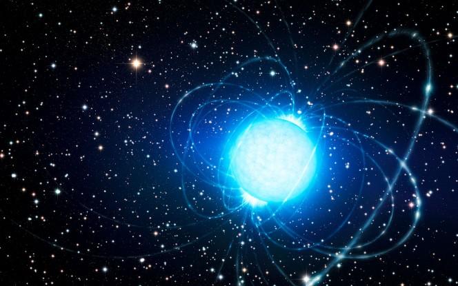 Rappresentazione artistica della magnetar nell'ammasso stellare Westerlund 1, che si è formato probabilmente all'interno di un sistema binario. Crediti: ESO/L. Calçada