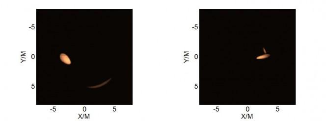 """Differenza tra l'immagine apparente di un """"hot spot"""" attorno a un buco nero (sx) e a un wormhole (dx). Crediti: Cosimo Bambi, Zilong Li"""