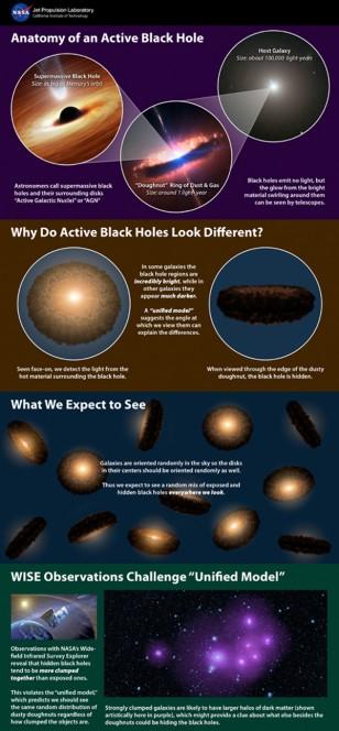 Questa infografica spiega la teoria sui buchi neri supermassicci: basandosi sui dati del Wide-field Infrared Survey Explorer, WISE, della NASA è stato smentito il modello precedente. Crediti: NASA/JPL-Caltech/NOAO/AURA/NSF/ESO
