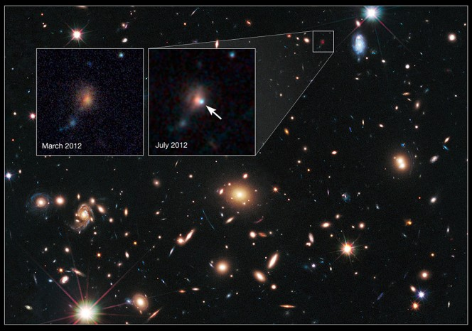 La lente cosmica MACS J1720+35 aiuta Hubble a trovare una supernova lontana. Questa immagine è stata scattata tra marzo e giugno 2012 con la Wide Field Camera 3 e l'Advanced Camera for Surveys di Hubble. Crediti: NASA, ESA, S. Perlmutter (UC Berkeley, LBNL), A. Koekemoer (STScI), M. Postman (STScI), A. Riess (STScI/JHU), J. Nordin (LBNL, UC Berkeley), D. Rubin (Florida State), and C. McCully (Rutgers University)