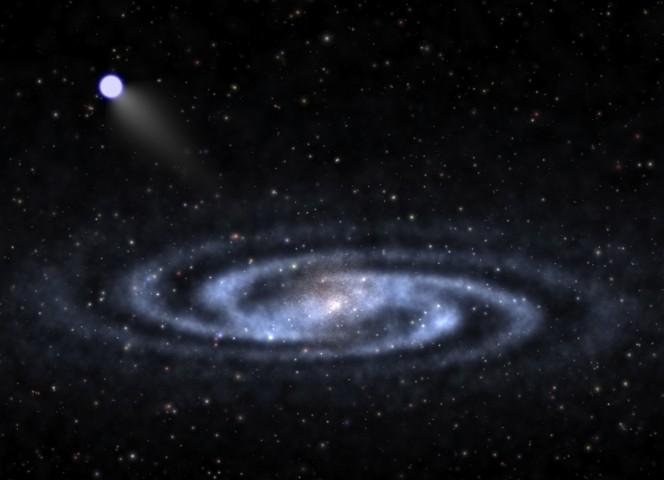 Rappresentazione artistica di una stella che si allontana a ipervelocità dalla parte visibile di una galassia simile alla Via Lattea, addentrandosi nell'alone di materia oscura. Crediti: Ben Bromley, University of Utah