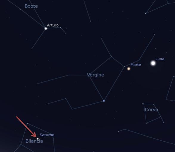 La posizione in cui osserveremo Saturno il 10 maggio è indicata dalla freccia rossa. Il pianeta si troverà nella costellazione della Bilancia e sarà facilmente individuabile, vicino alla Luna e Marte.