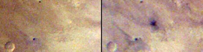 Prima e dopo dell'area dell'impatto che ha creato il grande cratere. Crediti: NASA/JPL-Caltech/MSSS