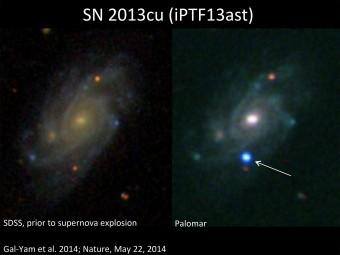 A sinistra, il teatro dell'esplosione: la galassia UGC 9379, a circa 360 milioni di anni luce da noi. A destra, in blu, la supernova. Crediti: SDSS(per la galassia), Palomar Observatory (per la supernova), Avishay Gal-Yam / Weizmann Institute of Science