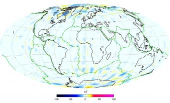 Differenze fra il campo magnetico della litosfera registrato da Swarm e il modello basato sui dati da missioni precedenti. Crediti:  ESA/DTU Space–N. Olsen