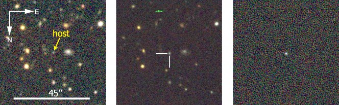 Prima (a sinistra) e dopo (al centro): sono le immagini della regione dove è stata scoperta la supernova superluminosa DES13S2cmm. Quella sulla destra è una sottrazione di queste due immagini: mostra un nuovo oggetto luminoso al centro - una supernova, appunto. Crediti: Dark Energy Survey