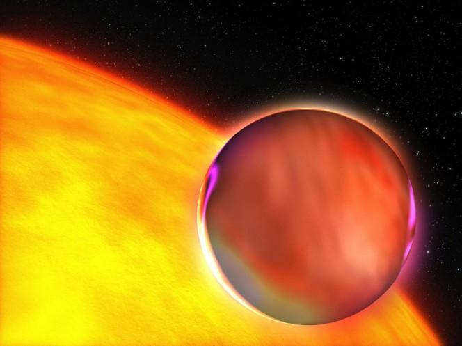 L'atmosfera di un esopianeta illuminata dalla stella del sistema di appartenenza nel rendering di un illustratore. Crediti: ESA.