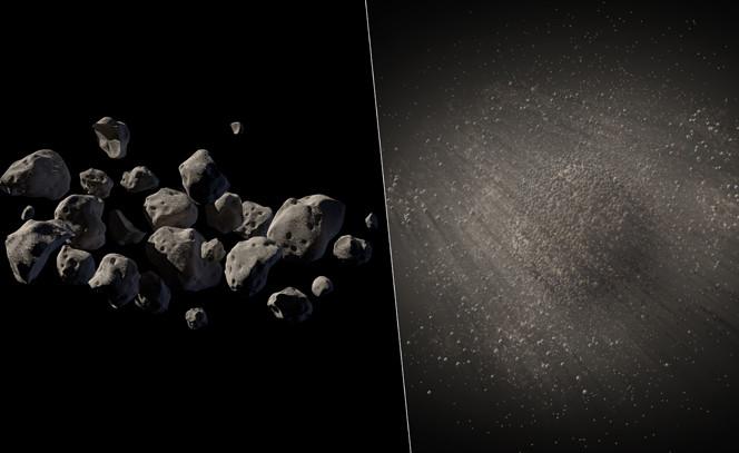 Due ipotesi di come potrebbe apparire realmente l'asteroide 2011 MD, piuttosto che una singola roccia. Crediti: NASA Jet Propulsion Laboratory