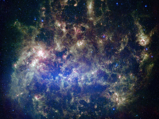 Spitzer (NASA) fotografa la Grande Nube di Magellano. Crediti: NASA/JPL-Caltech/STScI