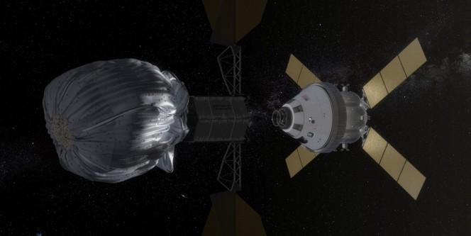 Fra i progetti presentati c'è anche una sonda robotica buona per 'rimorchiare' un asteroide fino all'orbita lunare. Facile da raggiungere un equipaggio umano grazie alla capsula Orion e lo Space Launch System, pronti per il 2021. Crediti: NASA.