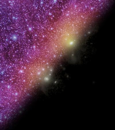 Le galassie visibili nel Gruppo Locale. In basso a destra si possono vedere  le tracce di una piccola frazione del vasto numero di aloni di materia oscura. Crediti: John Helly, Till Sawala, James Trayford, Durham University