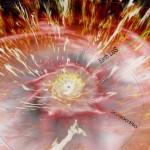 """Nell'immagine, presa dal video """"Anatomia di un Nucleo Galattico Attivo nella galassia NGC 5548"""", è visibile la ricostruzione in grafica digitale del flusso di gas che oscura il buco nero, sullo sfondo. Copyright: Renaud Person & Pierre-Olivier Petrucci"""
