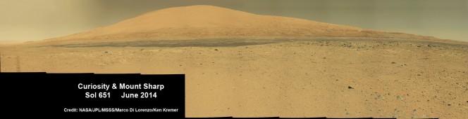 Curiosity ha fotografato il Monte Sharp il 6 giugno scorso durante una traversata nel Cratere Gale. Credit: NASA/JPL/MSSS/Marco Di Lorenzo/Ken Kremer-kenkremer.com
