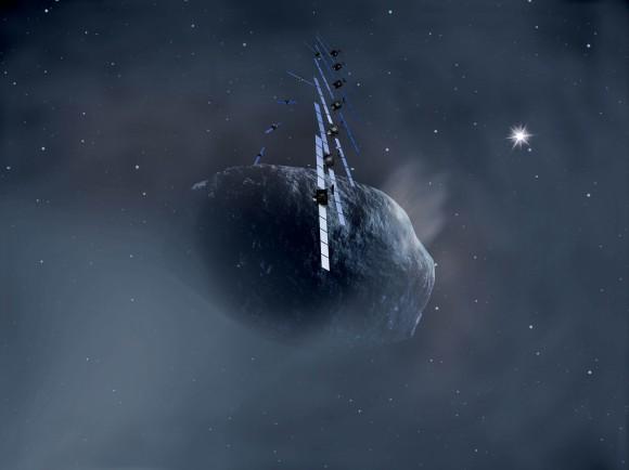 Rappresentazione artistica di Rosetta che orbita attorno alla cometa 67P/Churyumov-Gerasimenko. Crediti: ESA, immagine AOES Medialab
