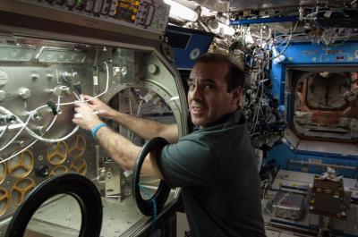 L'astronauta della NASA Rick Mastracchio prepara il test all'hardware del sistema di decontaminazione. Crediti:  NASA