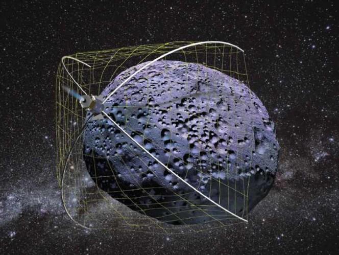 Rendering grafico del Weightless Rendezvous And Net Grapple to Limit Excess Rotation (WRANGLER). Un agile macchinario acchiappa asteroidi. Crediti: NASA.