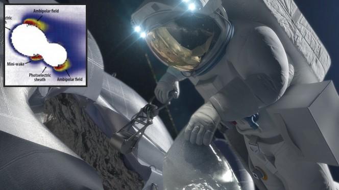 La direzione del campo elettrico e la forza prodotta dall'interazione del vento solare con un piccolo asteroide di forma irregolare simulata a computer rappresenta un potenziale pericolo da non sottovalutare con strumenti scientifici e missioni umane che vogliano agganciare asteroidi nel Sistema Solare. Crediti: NASA / JHU-APL / Michael Zimmerman.