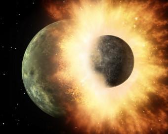 Rappresentazione artistica dell'impatto fra due corpi celesti di dimensioni planetarie. Crediti: NASA/JPL-Caltech