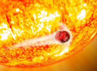 Rappresentazione artistica di Kepler-56b trasfigurato dalla forza mareale della stella madre. Crediti: David A. Aguilar (CfA)