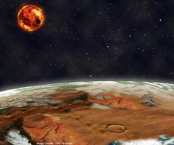 Immagine: artist view del sistema solare di Kepler-10 (V. Guido/FGG)