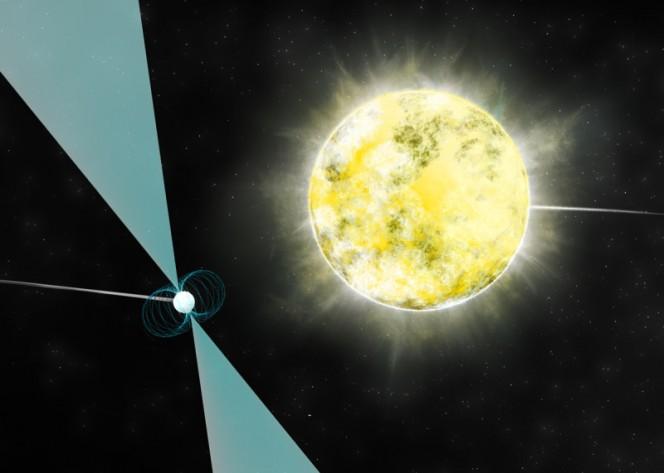 Riproduzione artistica di una nana bianca vicino alla pulsar PSR J2222-0137: potrebbe essere la più fredda e debole nana bianca mai osservata. Crediti: B. Saxton (NRAO/AUI/NSF)